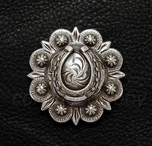 Conchos for Clothes Western Saddle HEADSTAL Horse TACK Antique Engraved Horseshoe Concho Screw Back