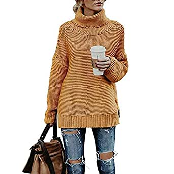 INIBUD Oversized Sweaters for Women Turtleneck Long Sleeve Chunky Knit Pullover (Amber, US XS)