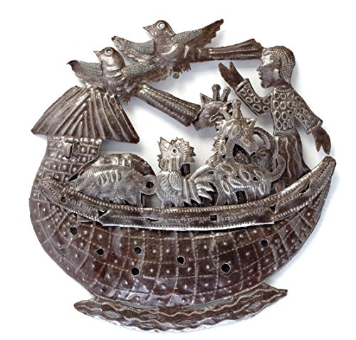 "Noah's Ark Handmade Metal Art From Haiti Recycled Oil Drums 14.5"" x 14.5"""