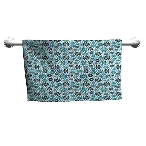 Art Towel Animal Print Collection,Daisy Flowers Blooms On Geometric Curvy Tilted Stripes Artful Design Illustration,Blue Yellow,Hooded Towel for Girls ()