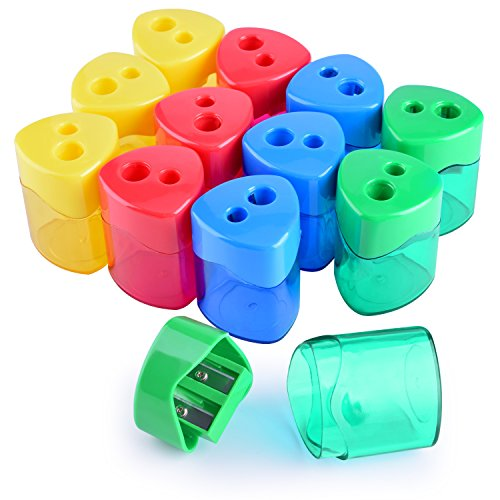 WXJ13 4 Colors Double Hole Manual Pencil Sharpener with Cover for Office and School, Pack of 12]()