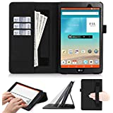 LG G Pad III 8.0 Case, LG G Pad 3 8.0 Case, FYY [Super Functional Series] Premium Leather Case Stand Cover with Card Slots, Note Holder, Quality Hand Strap and Elastic Strap for LG G Pad III 8.0 inch Black (With Auto Wake/Sleep Feature)