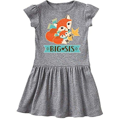 Heather Woodland (inktastic - Big Sis Woodland Fox Sister Toddler Dress 2T Heather Grey 2db14)