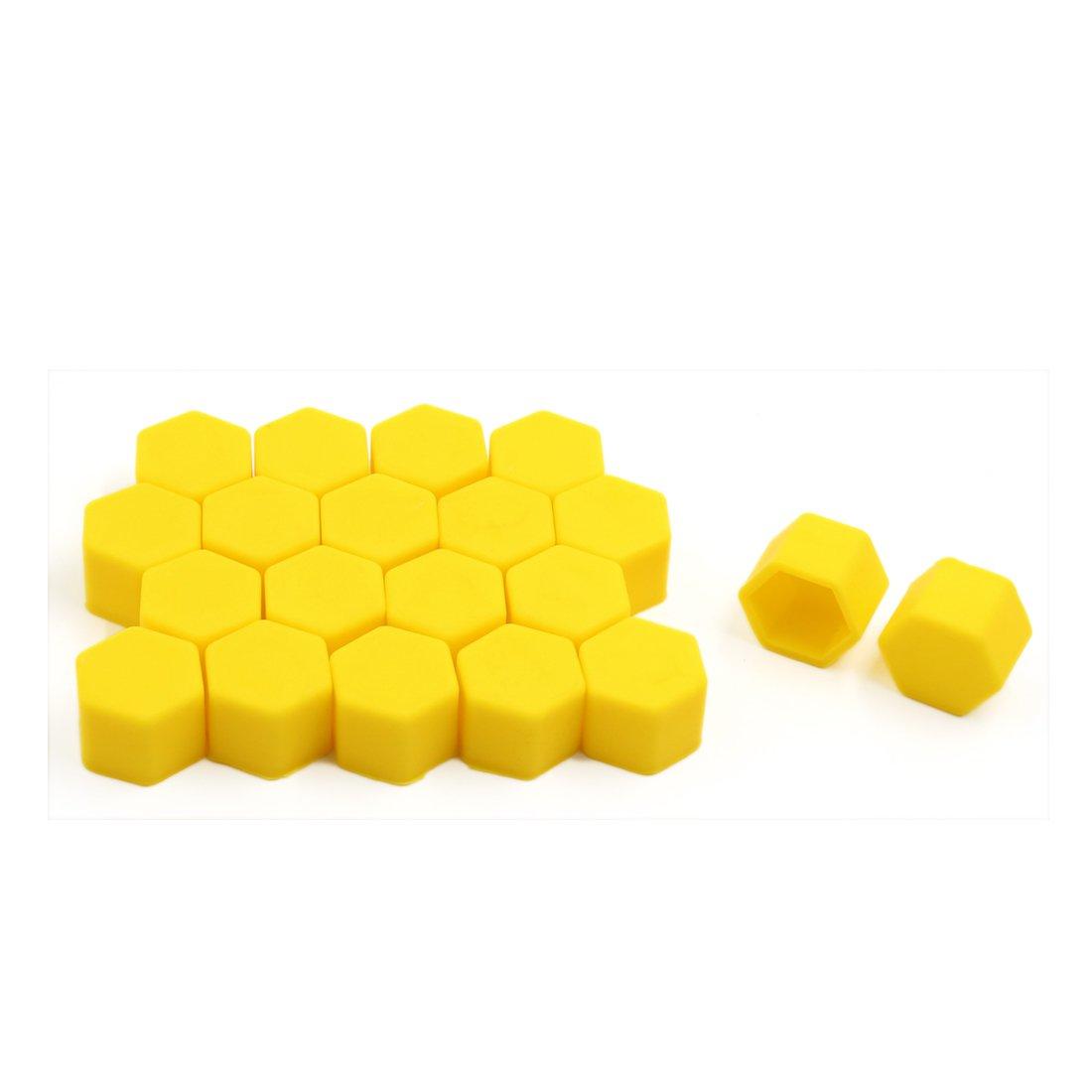 sourcingmap® 20pcs 19mm lumineux jaune auto voiture Silicone boulon/écrou roue cache vis moyeu sourcing map a16113000ux0249