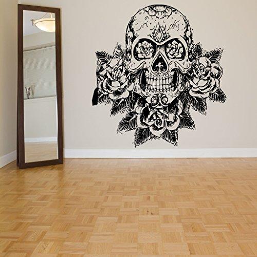 Wall Room Decor Art Vinyl Sticker Mural Decal Sugar Skull Rose Big Large AS1077