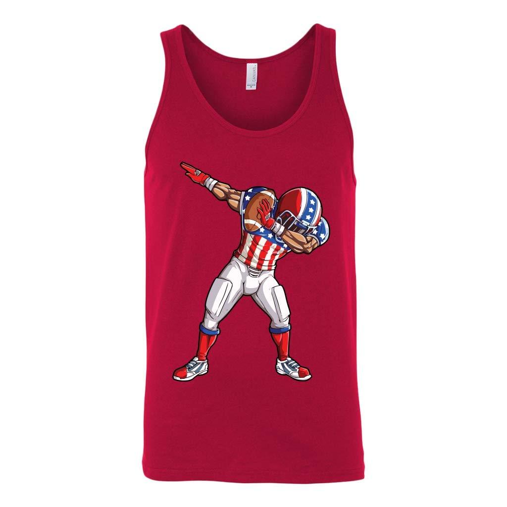 DATDesigns Dabbing Football 4Th of July USA American Flag Unisex Tank Top Unisex Tank