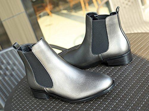 Style Heels Boots Retro Martin Boots Grey Low Women's velvet British Shoes QZUnique n4Y8wHq4