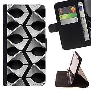 GIFT CHOICE / Billetera de cuero Estuche protector Cáscara Funda Caja de la carpeta Cubierta Caso / Wallet Case for LG G2 D800 // Black and White Geometric Pattern //