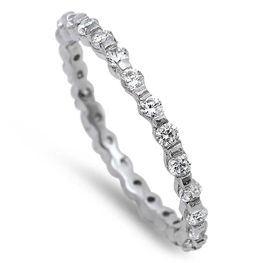 CHOOSE YOUR COLOR Sterling Silver Eternity Ring Sac Silver