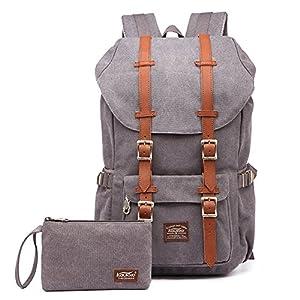 "Laptop Backpack, Kaukko Hiking Rucksack Stylish Schoolbag Traveling Daypack fits 15"" Laptop Grey"