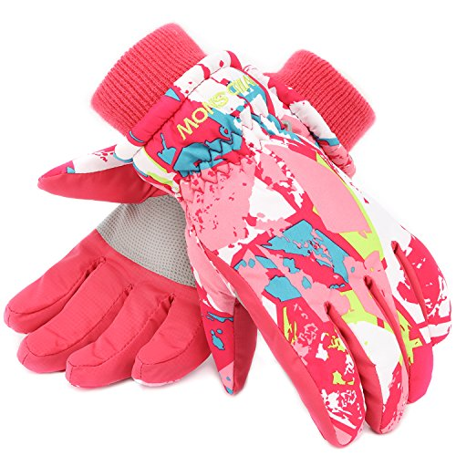 Ski Gloves,RunRRIn Winter Warmest Waterproof and Breathable Snow Gloves for Mens,Womens,ladies and Kids Skiing,Snowboarding(Kids-Pink-White-S)