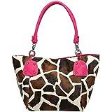 FASH Limited© Giraffe Print Faux Leather Top Zip Tote Office Handbag,Fuchsia,One Size