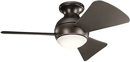 Kichler 330150OZ 34 Inch Sola Ceiling Fan LED, 3 Speed Wall Control, Olde Bronze Finish with Olde Bronze Blades.