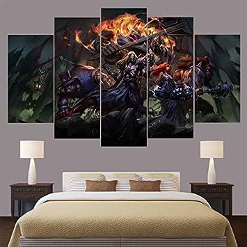 Amazon.com: League Of Legends, Canvas Wall Art Framed 5 Panel (Size ...