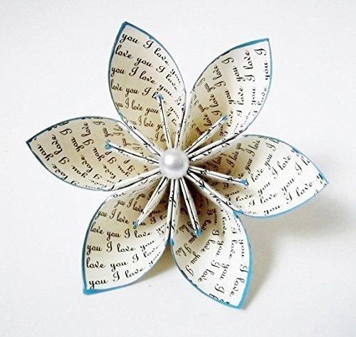 I Love You Paper Flower Wedding Gift Cake Topper Origami Handmade