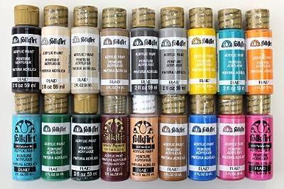 FolkArt Acrylic Paint set (18 Colors in 2 Ounce bottles)