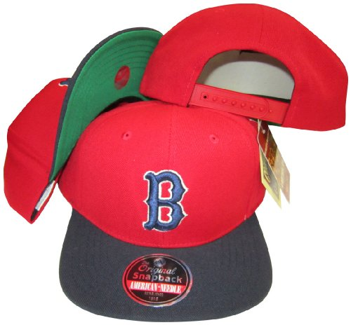 American Needle Boston Red Sox Red/Navy Two Tone Plastic Snapback Adjustable Snap Back Hat/Cap (Red Sox American Needle)
