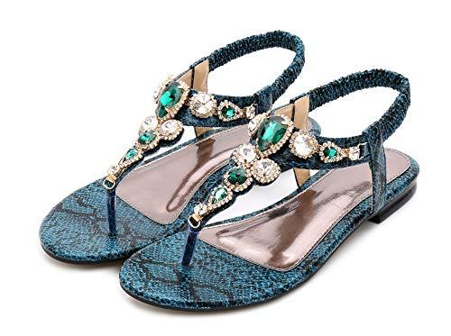 Scarpe Strass Classico A Fortuning's Della Estive Verde Jds® Aperta Piatte Fashion Punta Boemia Design Sandali 5HHYg0p