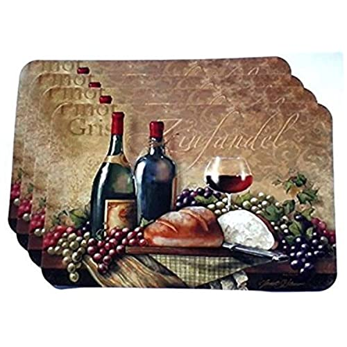 wine themed plastic placemats set of 4