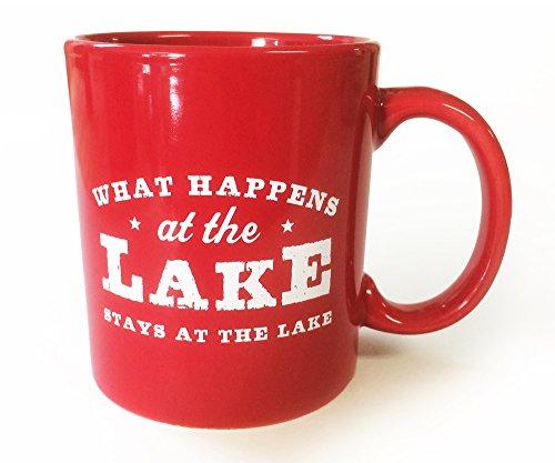 Lake House Coffee Mug- What Happens At the Lake Stays At the Lake--red