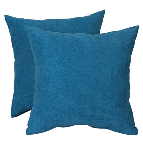 (Bridgeso Winter Warm Square Throw Pillow Cover Decorative Simple Design Pillowcases for Sofa/Bed, 2 Pack, 18 x 18 inches, Teal)