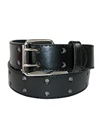 CTM® Kids' Leather Two Hole Jean Belt (Pack of 2), Medium (22-24 inches), Black