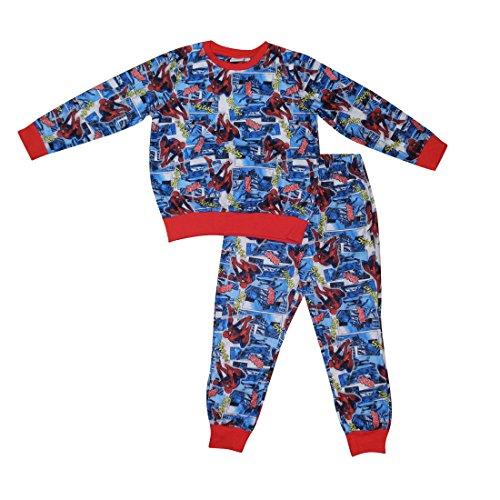 [2 PCS SET MARVEL COMICS SPIDERMAN Boys Fall / Winter Pajama Top & Pants Set 5 Blue] (Blue Spiderman Suit)