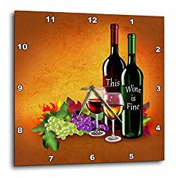 3dRose Dream Essence Designs-Food and Drink - Fine Wine with lovely wine bottles, grapes and elegant wine glasses - 13x13 Wall Clock (dpp_262339_2)