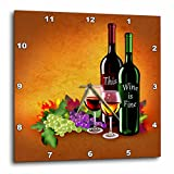 grapes wall clock - 3dRose Fine Lovely Bottles, Grapes and Elegant Wine Glasses Wall Clock, 13 x 13,