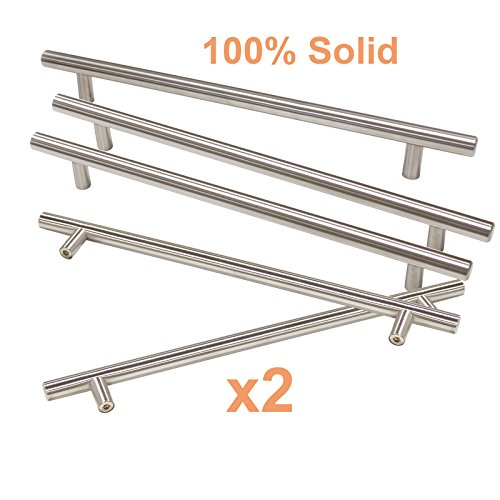 Gobrico 8-4/5in Holes Euro Style Satin Nickel Solid T Bar Drawer Cabinet Cupboard Kitchen Handles Pulls and Knobs,11-3/10