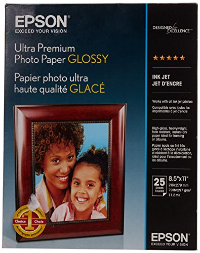 Epson Ultra Premium Photo Paper Glossy, Letter, 8.5 x 11, 25 Sheets (S042182)