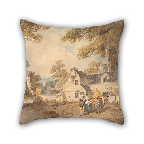 TonyLegner Oil Painting Francis Wheatley - Traveling Potter Outside A Cottage Cushion Covers 18 X 18 inches / 45 45 cm Gift Decor Him Boy Friend Son Kids Girls Club Gril Friend - Each Side