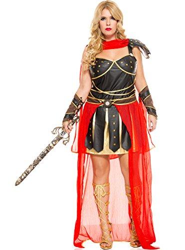 Amazon Warrior Greek Costume (MUSIC LEGS Women's Plus-Size Dark Greek Warrior Plus Size, Brown/Red,)