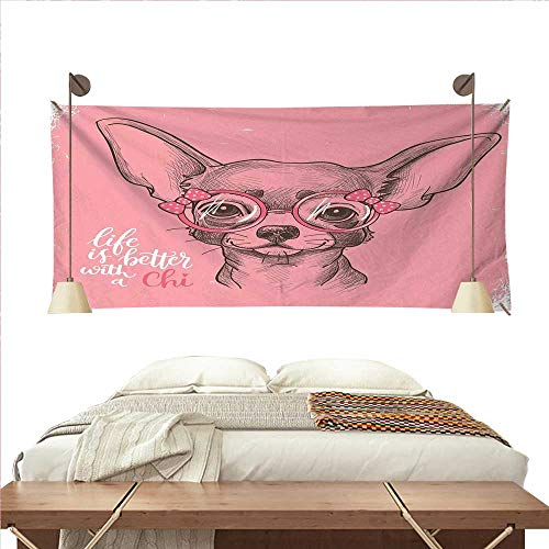 - W Machine Sky Dog Pattern Tapestry Girl Chihuahua Sketch Illustration with Quote Fashion Glasses Ribbons Puppy Gorgeous Tapestry 93W x 70L InchPale Pink Army Green