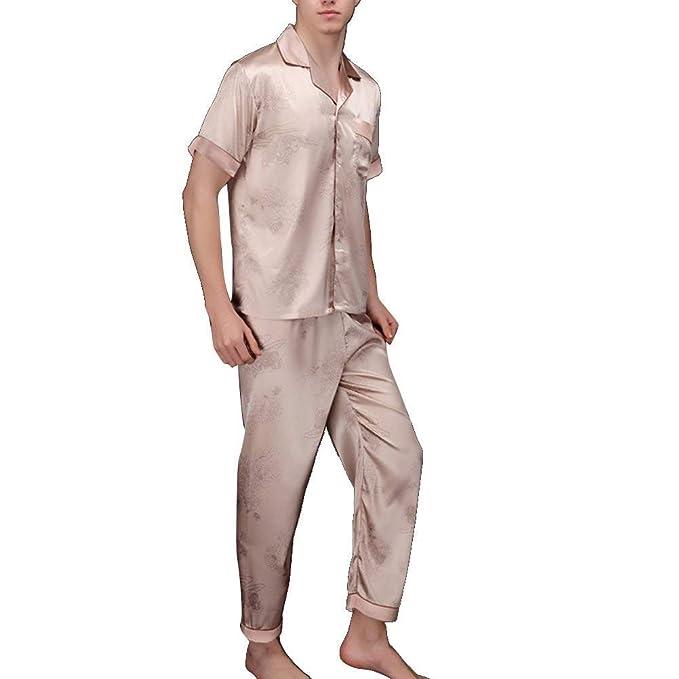 HX fashion Pijama De Hombre Traje De Casa De Seda Tamaños Cómodos De Dos Piezas Clásico Pijama De Satén Cómodo De Dos Piezas De Ropa Larga De Verano Chemise ...