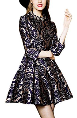 Friendshop Womens Elegant Jacquard Nail Bead Collar Black Vintage Floral Dress