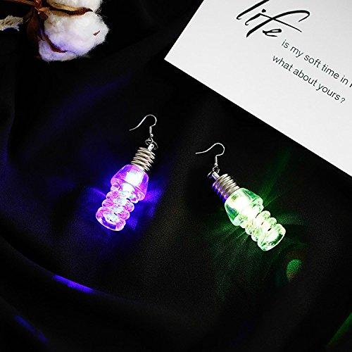 Gbell Women Light Up Earrings LED Blinking Bulb Ear Hook Dangle Unique Personality Earrings Party Jewelry for Girls Lady Date Ball Wearing,8×3CM (B)