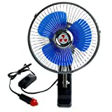 SCASTOE 12V Auto Vehicle Car Fan Powered Portable Oscillating Cooling Fan With Clip
