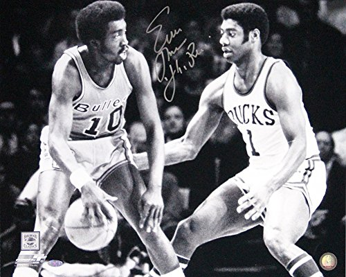 Earl Monroe Dribble vs Oscar Robertson 16X20 Autographed Signed Photo with Pearl Insc. - Authentic Signature - Robertson Signed Photo