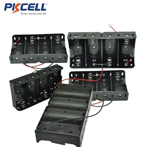 5 Pcs Clip Black 4 x 1.5V D Size Battery Holder Case Storage Box