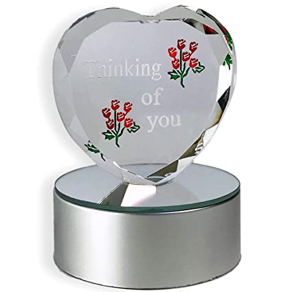 6770d0e00aac Image Unavailable. Image not available for. Color  BANBERRY DESIGNS  Thinking of You - LED Heart Decor Desktop - Roses Etched in Glass on