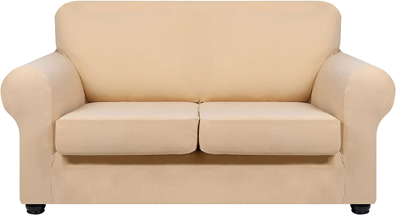 hyha 3 Pieces Stretch Loveseat Slipcovers - Soft Couch Covers for 2 Cushion Couch, Washable Furniture Covers, Sofa Cover for Living Room with Elastic Bottom for Pets (Loveseat, Beige)