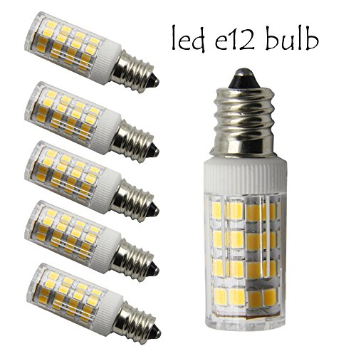 E12 candelabra LED 40W Equivalent Warm White 3000K T3/T4 Candelabra Base E12 LED Replacement Omni-directional E12 Bulb for Ceiling Fan, Chandelier, Indoor Decorative Lighting(Pack of 5)