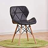 Living Room Leisure Chair, Side Reception Chair with Leather Cushion Seat and Beech Wood Legs, JOYBASE Accent Furniture for Bedroom, Office, Café and Home (Black) For Sale