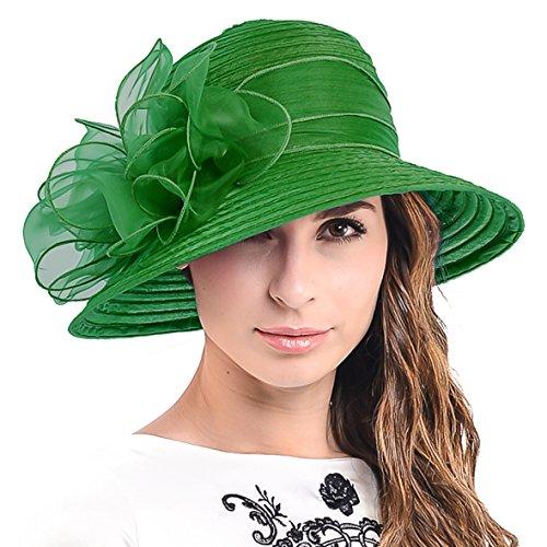 - Ascot Kentucky Derby Bowler Church Cloche Hat Bowknot Organza Bridal Dress Cap S051 (Green)