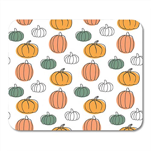Shirna Mouse Pads Green Pattern Pumpkins Colorful Halloween Orange Thanksgiving Cooking Cute Mouse pad 9.5