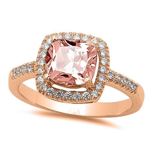 NYC Sterling Princess Halo Cubic Zirconia Simulated Morganite Ring (5)