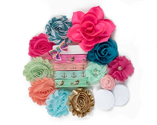 Coral Reef : DIY Deluxe Mini Headband Kit MAKES 5-10 Headband Hair Accessories : Rose & White Shabby Chiffon Craft Roses FOE Fold Over Elastic : Princess Parties & Baby Showers Bright Mermaids