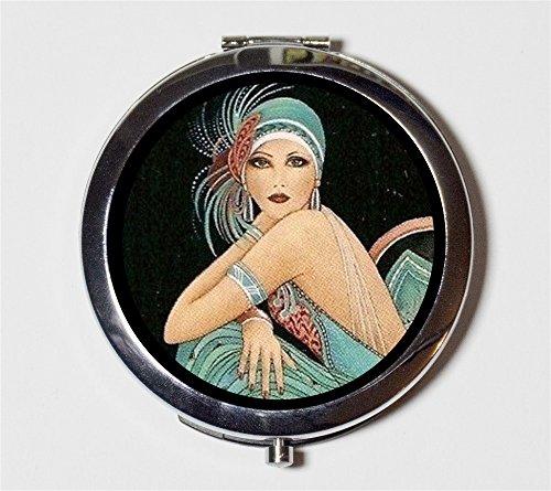 Flapper Art Deco Compact Mirror Follies Showgirl Pocket for Cosmetics Makeup