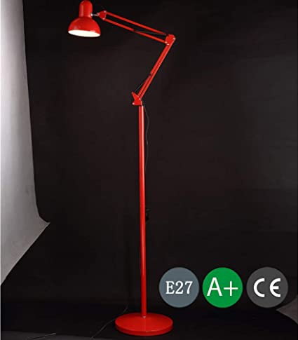 Lámpara de pie moderna Lámpara de hierro rojo para sala de ...